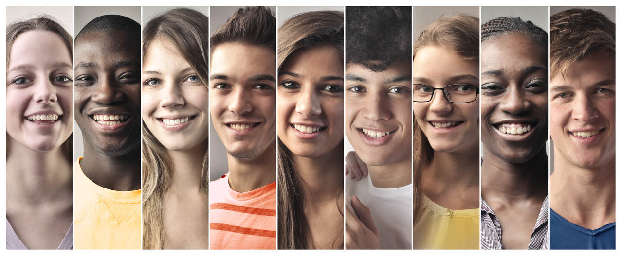 Pictures of teens with multicultural backgrounds